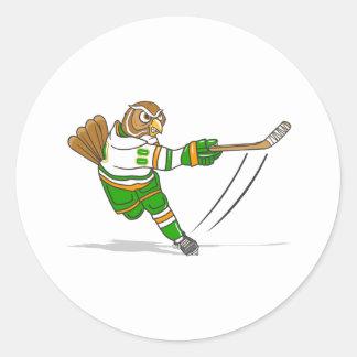 Orange Green Hockey Owl Sticker