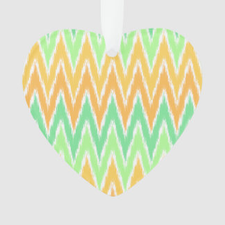 Orange Green Ikat Chevron Zig Zag Stripes Pattern