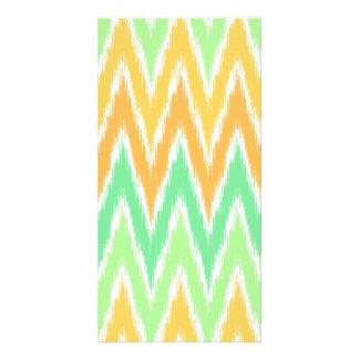 Orange Green Ikat Chevron Zig Zag Stripes Pattern Card