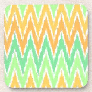 Orange Green Ikat Chevron Zig Zag Stripes Pattern Drink Coaster