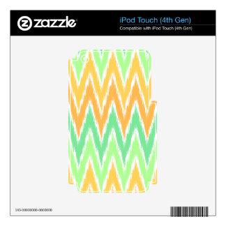 Orange Green Ikat Chevron Zig Zag Stripes Pattern iPod Touch 4G Skins