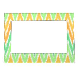 Orange Green Ikat Chevron Zig Zag Stripes Pattern Magnetic Photo Frame