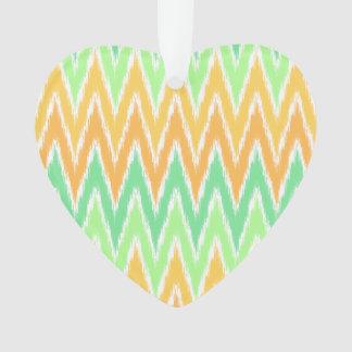 Orange Green Ikat Chevron Zig Zag Stripes Pattern Ornament