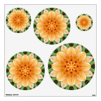Orange Green Kaleidoscope Flower Medium Circles Wall Sticker