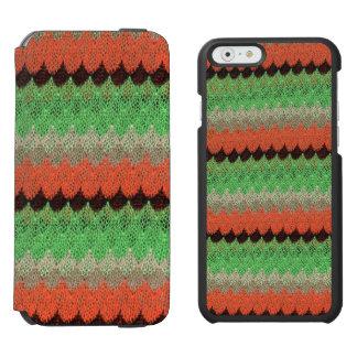Orange Green Knit Crochet Black Lace iPhone 6/6s Wallet Case