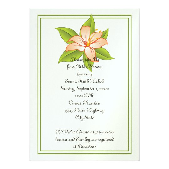 Orange green lily wedding bridal shower invite