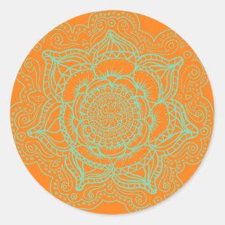 Orange Green Mandala Classic Round Sticker