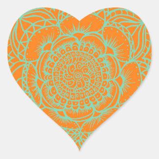 Orange Green Mandala Heart Sticker