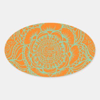 Orange Green Mandala Oval Sticker