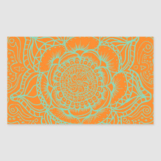 Orange Green Mandala Rectangular Sticker