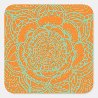 Orange Green Mandala Square Sticker