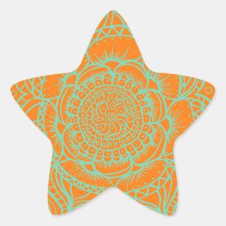 Orange Green Mandala Star Sticker