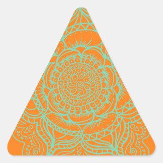Orange Green Mandala Triangle Sticker