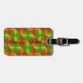 Orange Green Metallic Looking Squares Bag Tag