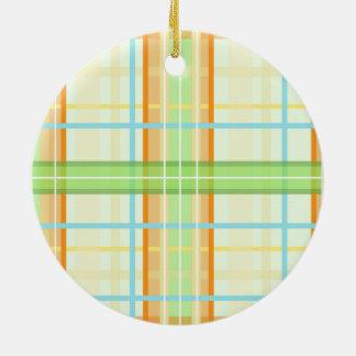 Orange & Green Modern Plaid Design Ceramic Ornament