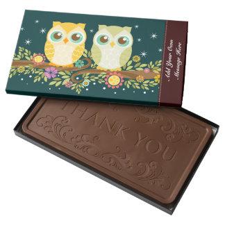 Orange & Green Owls - Custom Message 2 Pound Milk Chocolate Bar Box
