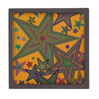 Orange Green Party Stars Gift Box