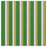 [ Thumbnail: Orange, Green, Plum, White & Dark Green Colored Fabric ]
