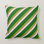 [ Thumbnail: Orange, Green, Plum, White & Dark Green Colored Throw Pillow ]