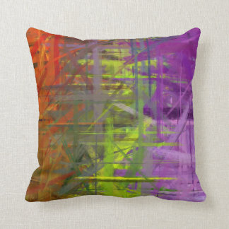 Orange Green Purple Abstract Art Painting Throw Pillow