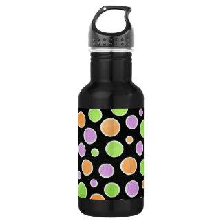 Orange Green & Purple Polka Dots 18oz Water Bottle