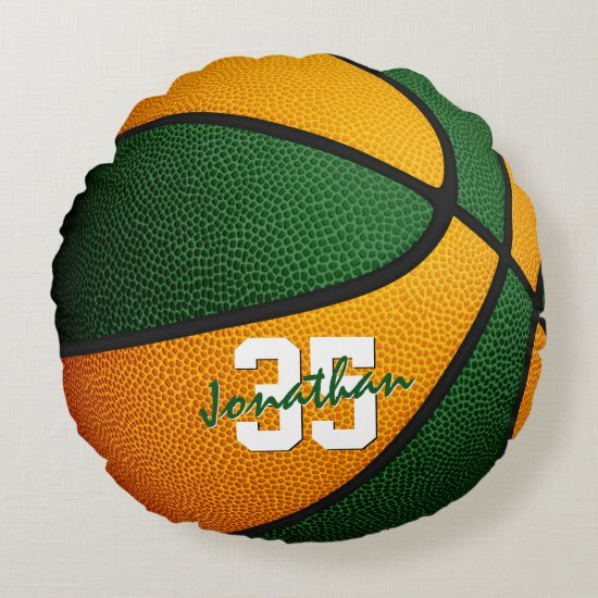 orange green school colors boys girls basketball round pillow
