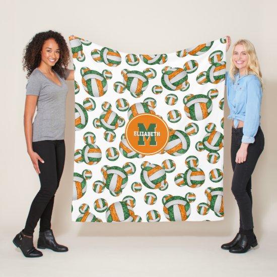 orange green school team colors girly volleyball fleece blanket