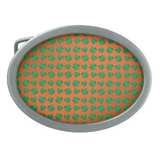 Orange green shamrocks and hearts belt buckles