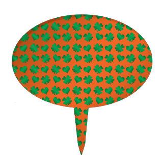 Orange green shamrocks and hearts cake pick