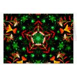 Orange Green Star Kaleidoscope Mandala Greeting Card