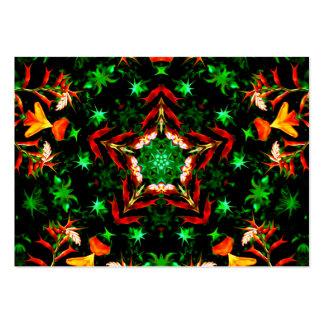 Orange Green Star Kaleidoscope Mandala Large Business Card