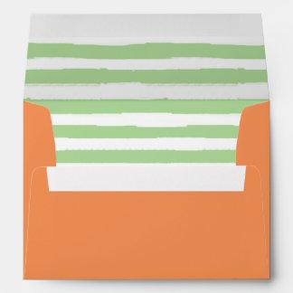 Orange & Green   Striped Liner Envelope