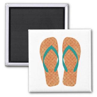 Orange Green Summer Beach Flip Flops Magnet
