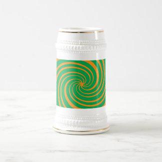 Orange green swirl 18 oz beer stein