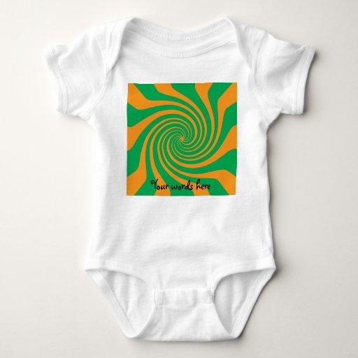 Orange green swirl t shirt