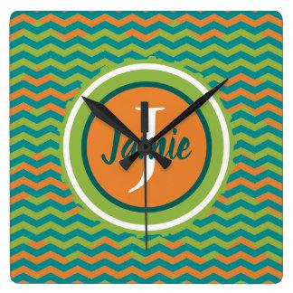 Orange Green Teal Chevron Monogram design by Monog Square Wall Clock