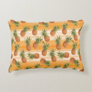 Orange Green Tropical Pineapple Fruit Pattern Decorative Pillow