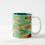 orange green waves coffee mugs