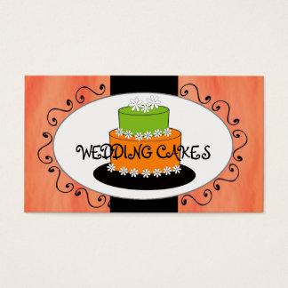Orange Green Wedding Cake Bakery Business Cards