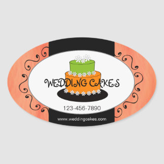 Orange Green Wedding Cake Bakery Product Sticker