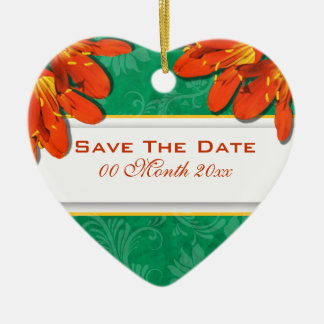"""Orange green wedding """"save the date"""" Double-Sided heart ceramic christmas ornament"""