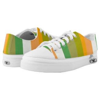 Orange Green White Bold Stripes Printed Shoes