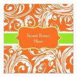 "Orange green white engagement wedding 5.25"" square invitation card"