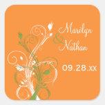 """Orange Green White Floral 1.5"""" Wedding Sticker"""