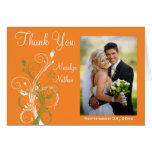 Orange Green White Floral Photo Thank You Card Card