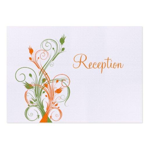 Orange green white floral reception enclosure card