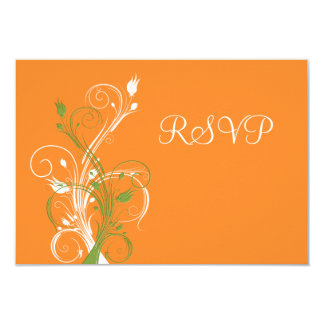 Orange, Green, White Floral RSVP Card