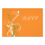 "Orange, Green, White Floral RSVP Card 3.5"" X 5"" Invitation Card"