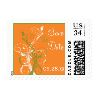 Orange Green White Floral Save The Date Postage