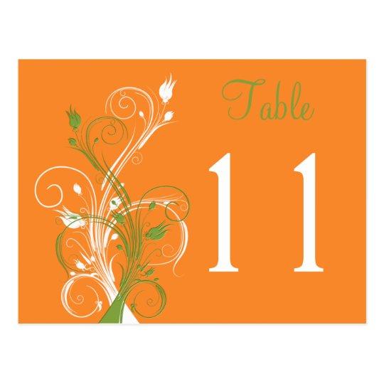 Orange Green White Floral Table Number Postcard